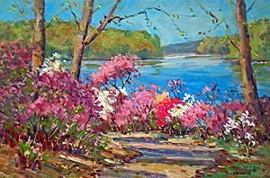 Azaleas at Brighton Dam Painting by Bill Schmidt