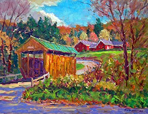 Kissing Bridge, Waterville, Vermont Painting by Bill Schmidt